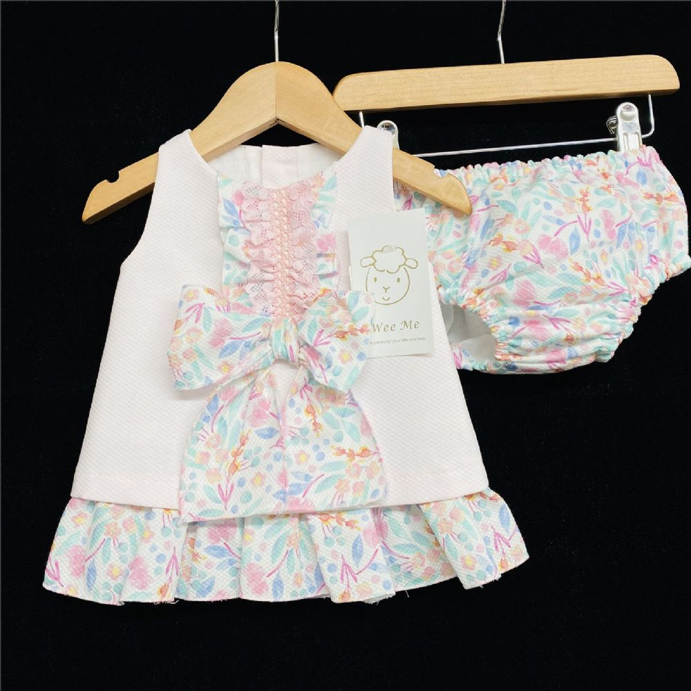 * Baby Girl Spanish Pink Floral Waffle A Line Dress with pants